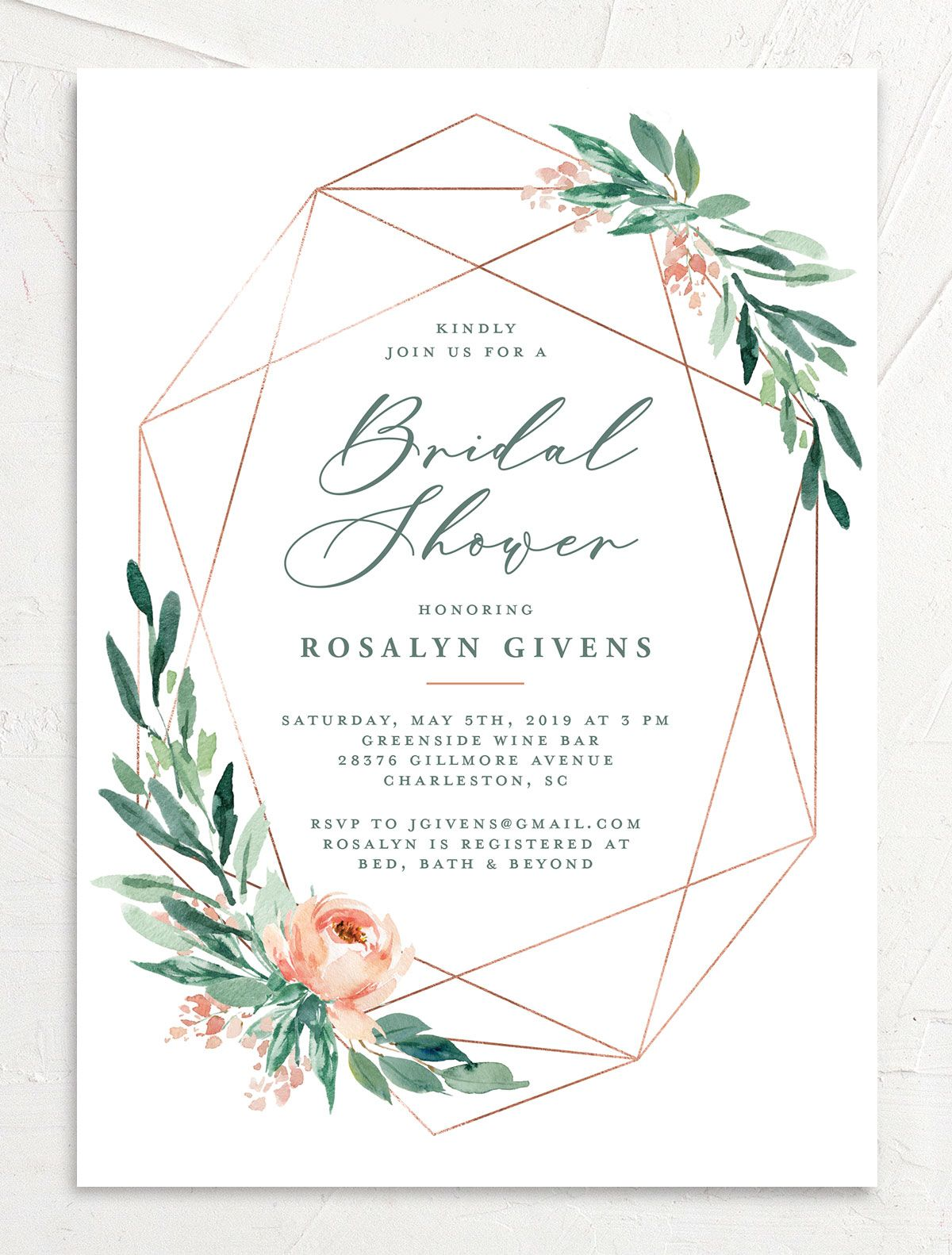 Gilded Botanical bridal shower invitation front