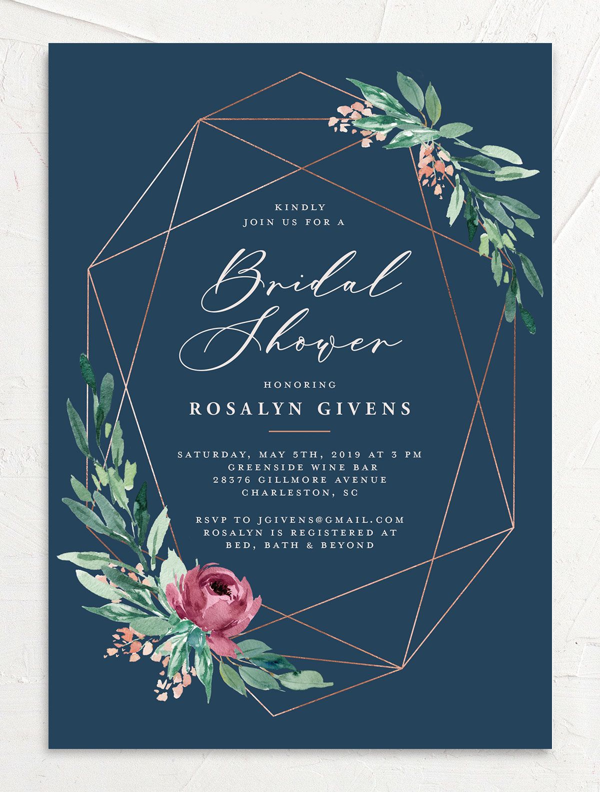 Gilded Botanical bridal shower invitations front