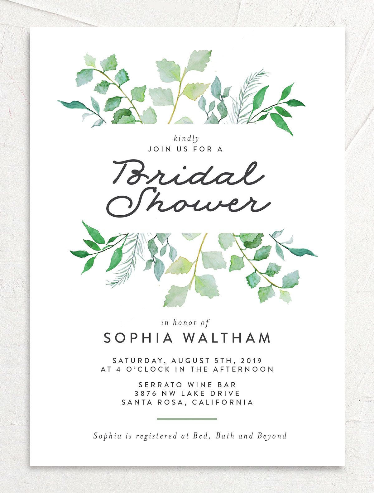 leafy ampersand bridal shower invitation in green