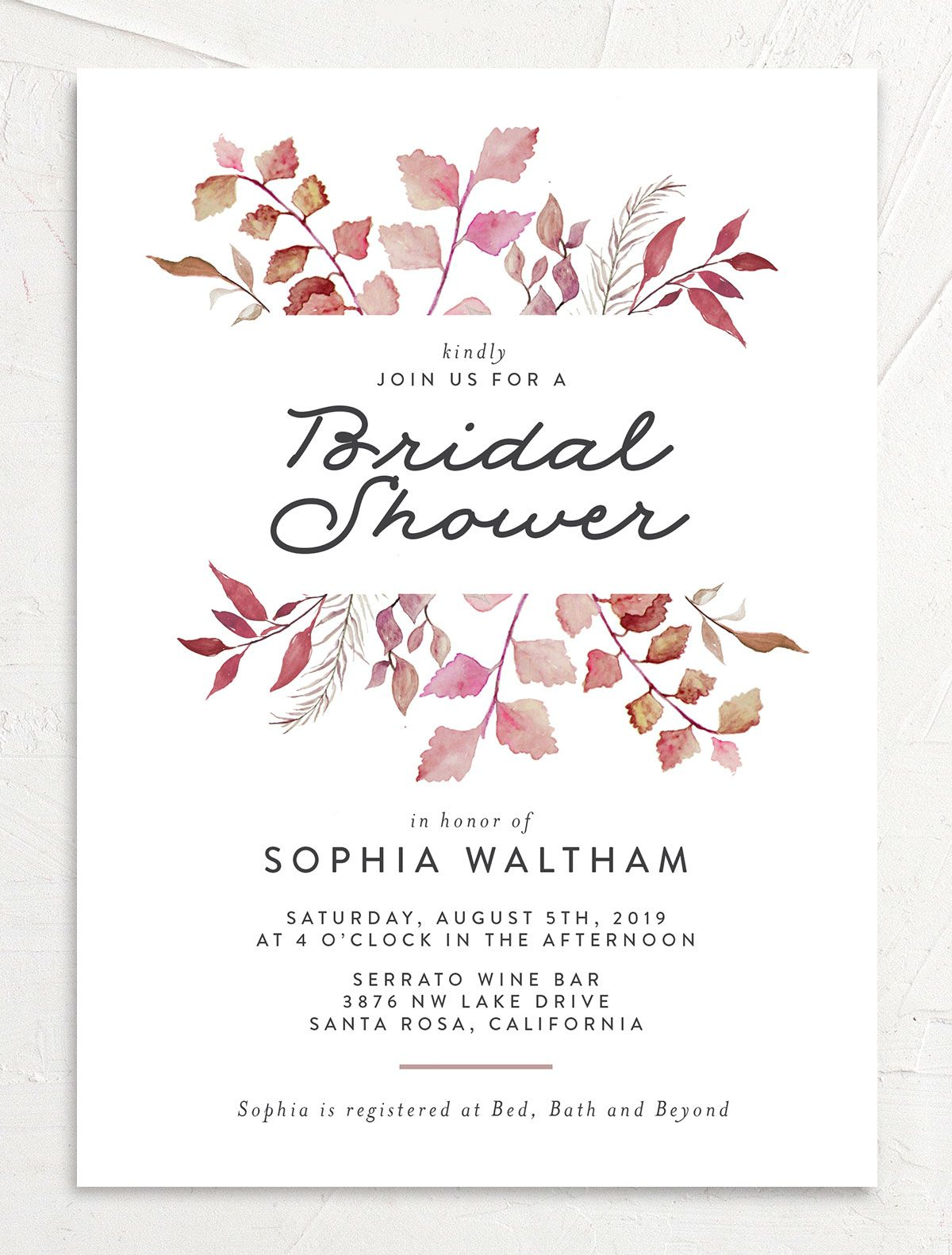leafy ampersand bridal shower invitation in purple