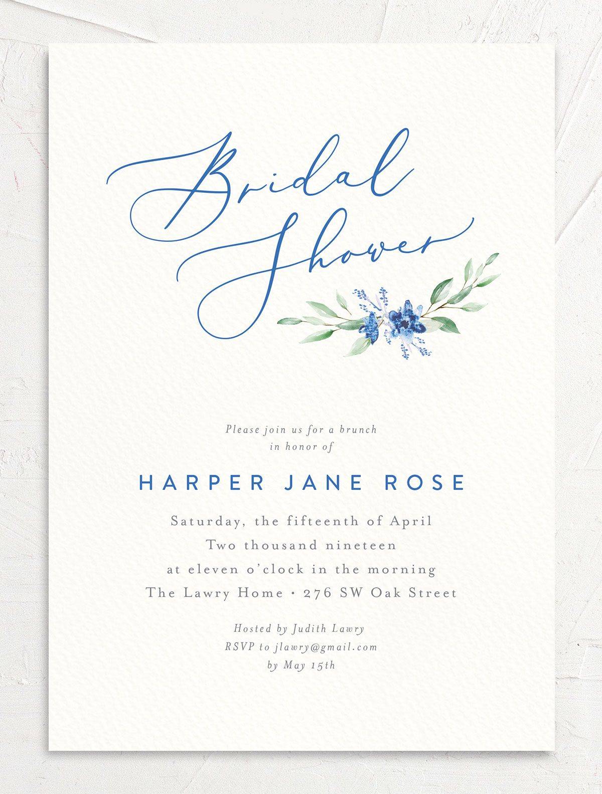 watercolor crest bridal shower invitations in blue