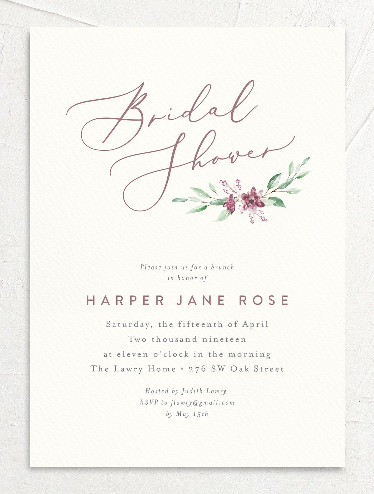 watercolor crest bridal shower invitations in pink