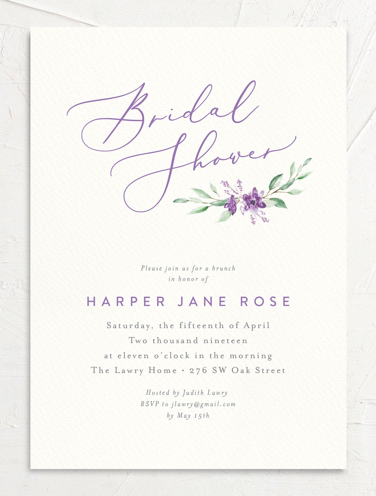 watercolor crest bridal shower invitations in purple