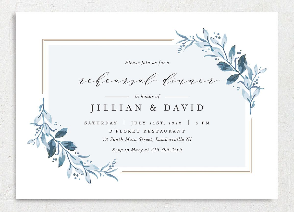 classic greenery rehearsal dinner invitations in blue
