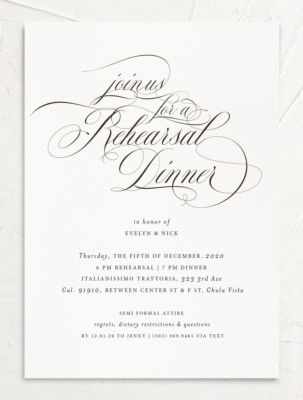 Exquisite Calligraphy Rehearsal Dinner Invitations | elli