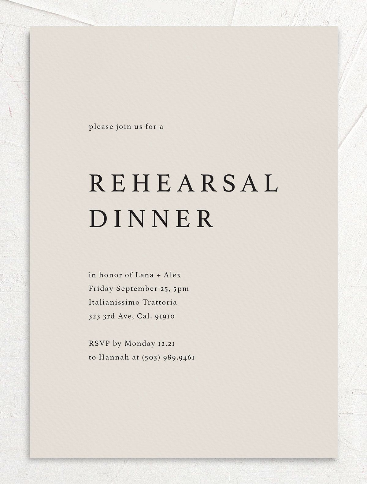 rehearsal dinner invite in blue front