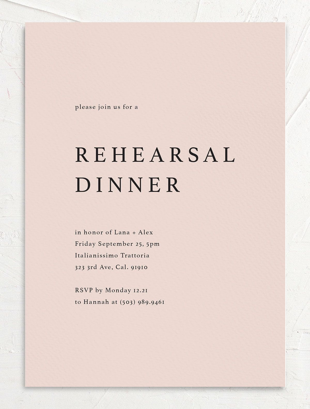 rehearsal dinner invite in pink front