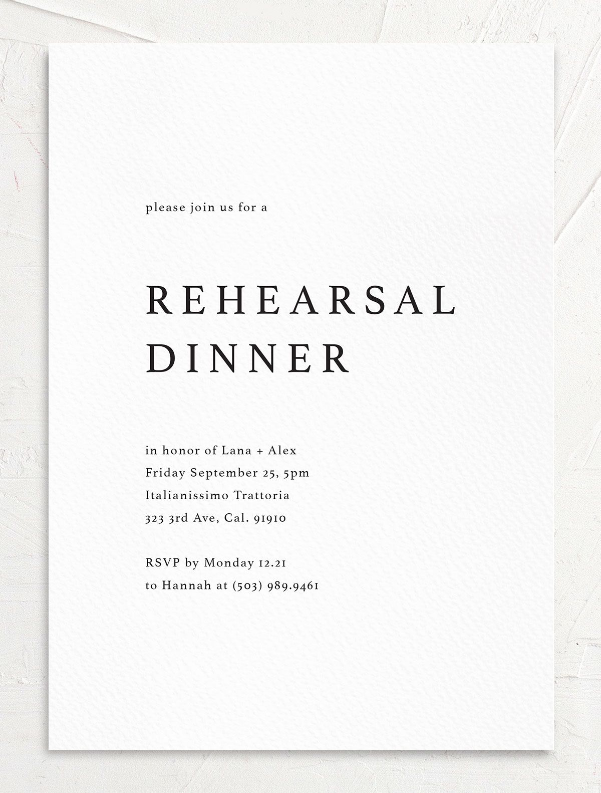 rehearsal dinner invite in white front