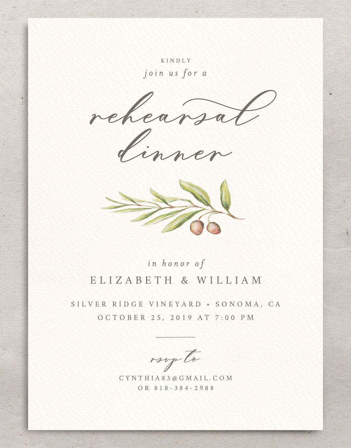 Painted Winery rehearsal dinner invitation