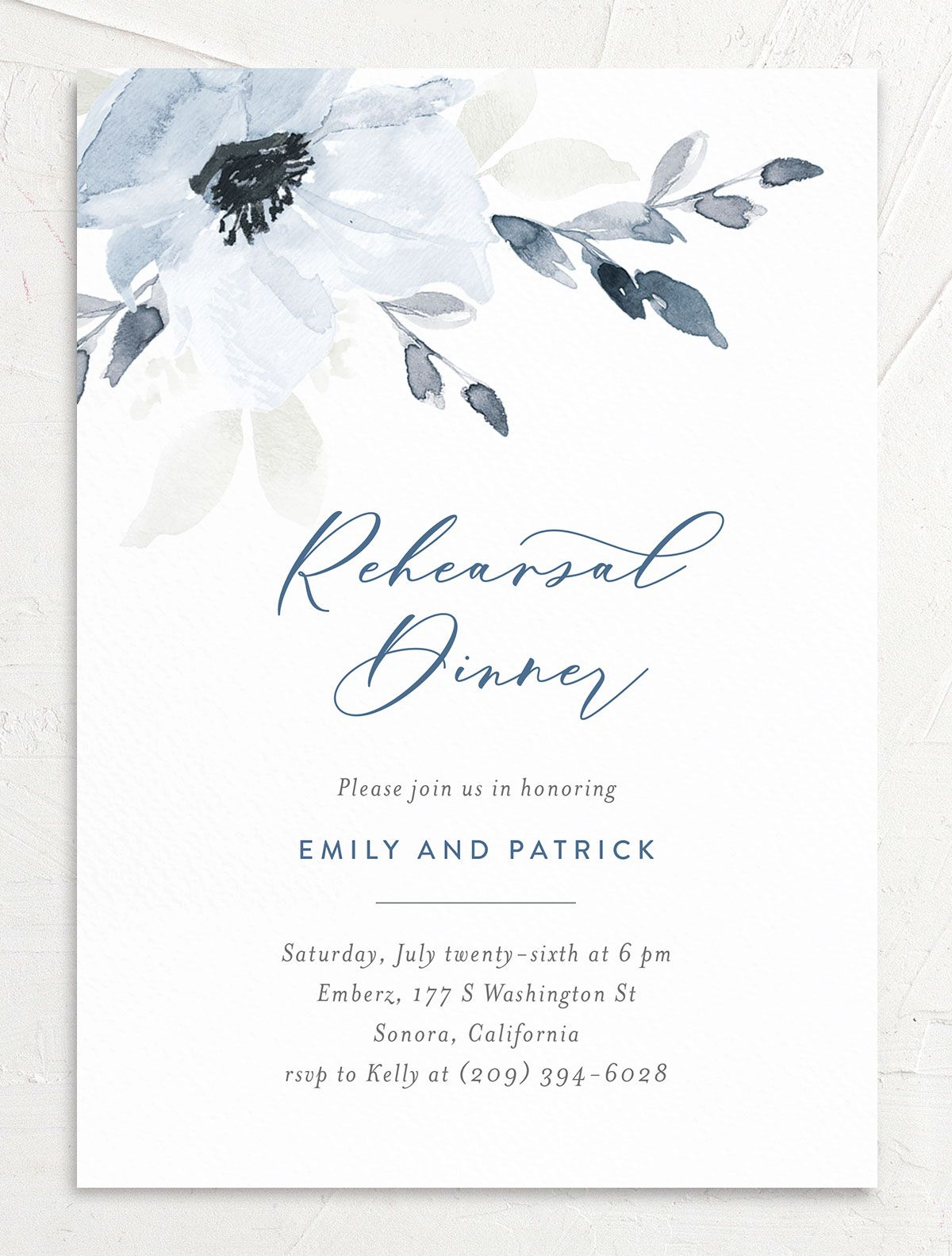 Shades of Blue Rehearsal Dinner Invites