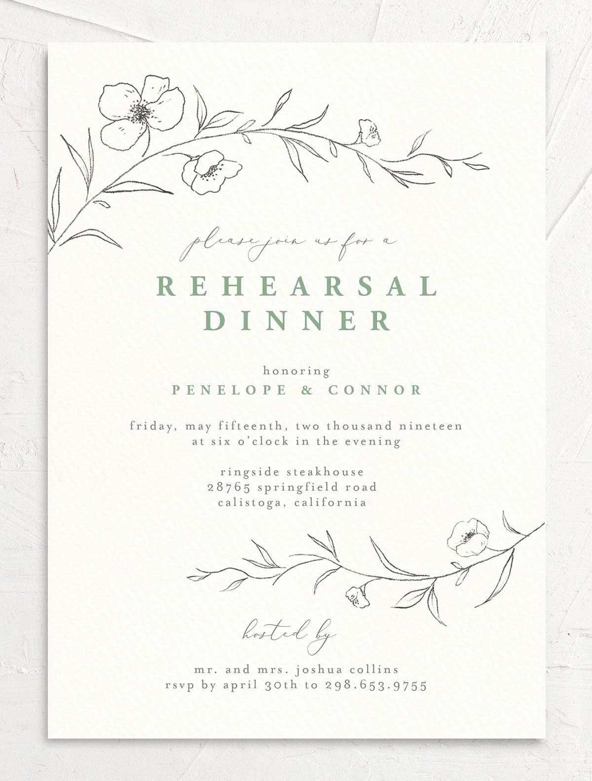 graceful botanical rehearsal dinner invitations in green