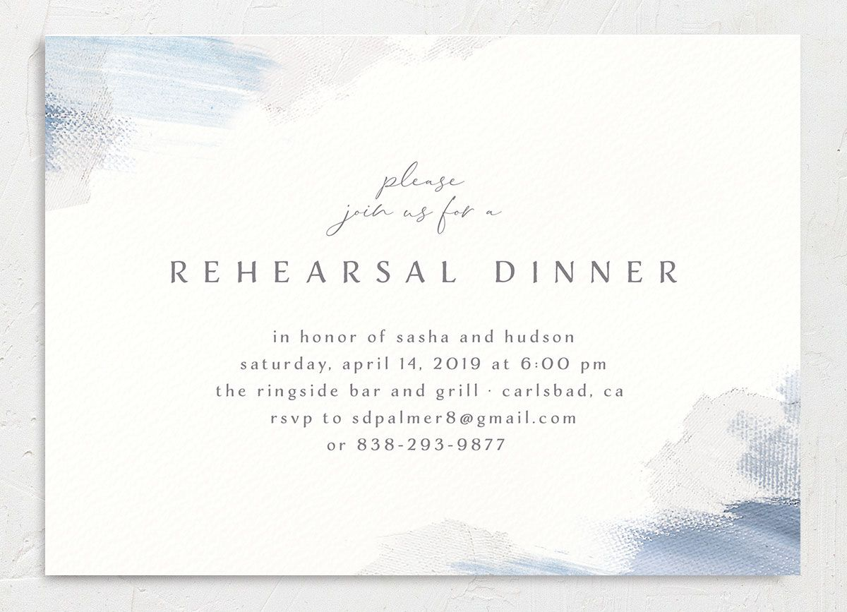 Minimal Brush rehearsal dinner invitation blue front