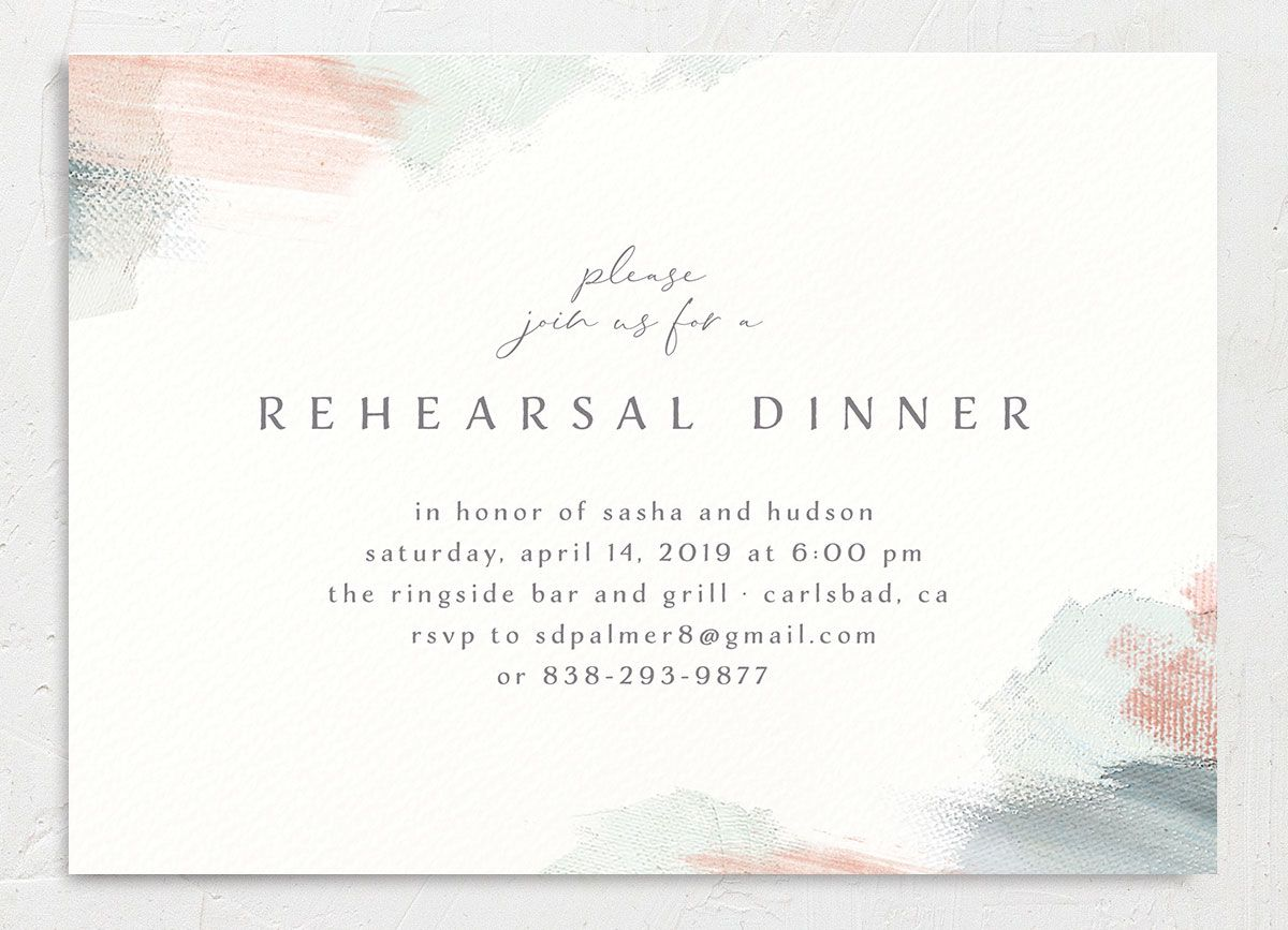 Minimal Brush rehearsal dinner invitation green front