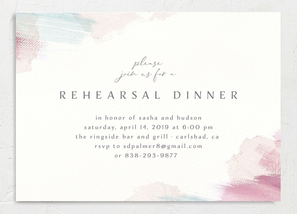 Minimal Brush rehearsal dinner invitation pink front