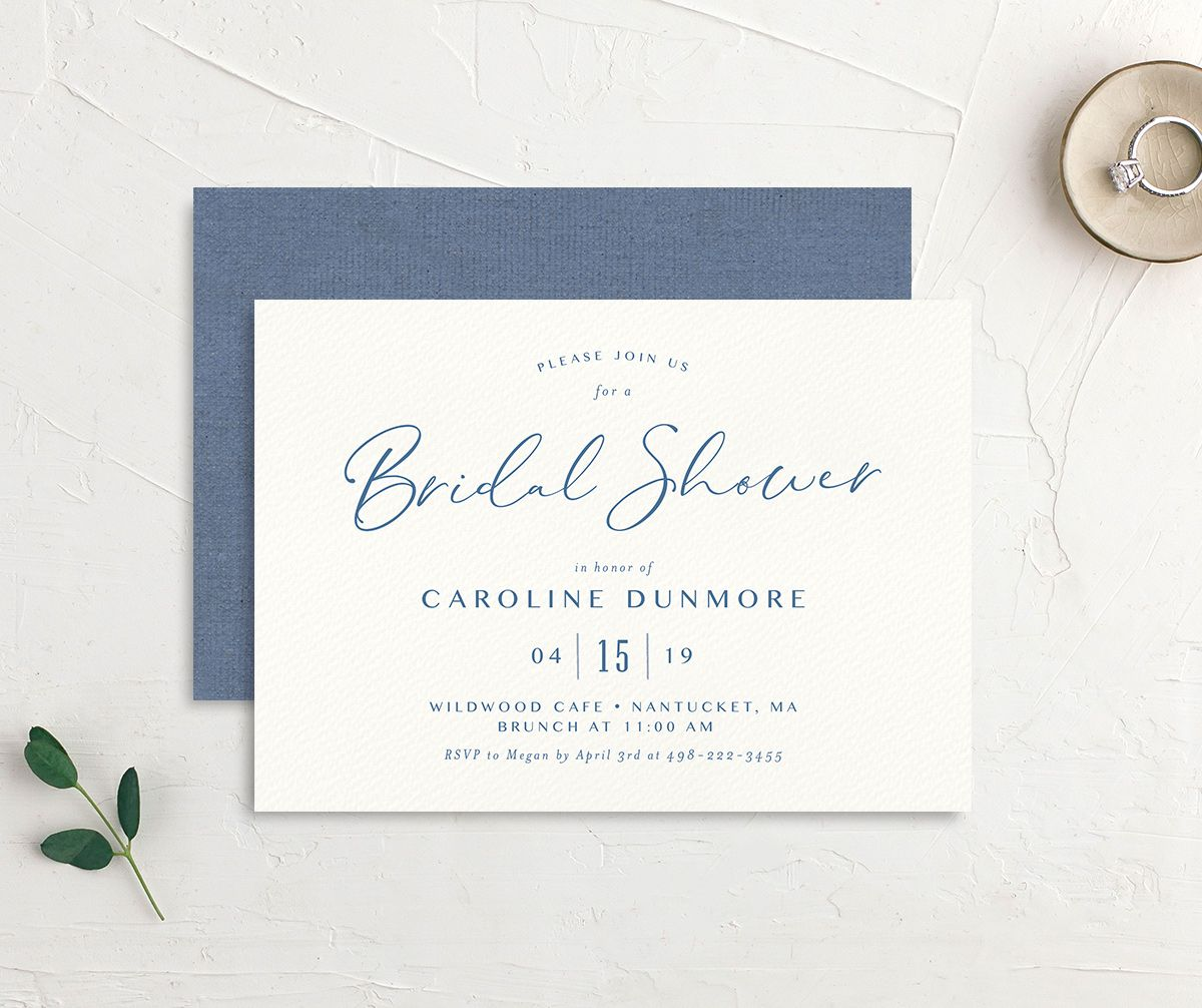 Coastal Love bridal shower invites front & back in blue