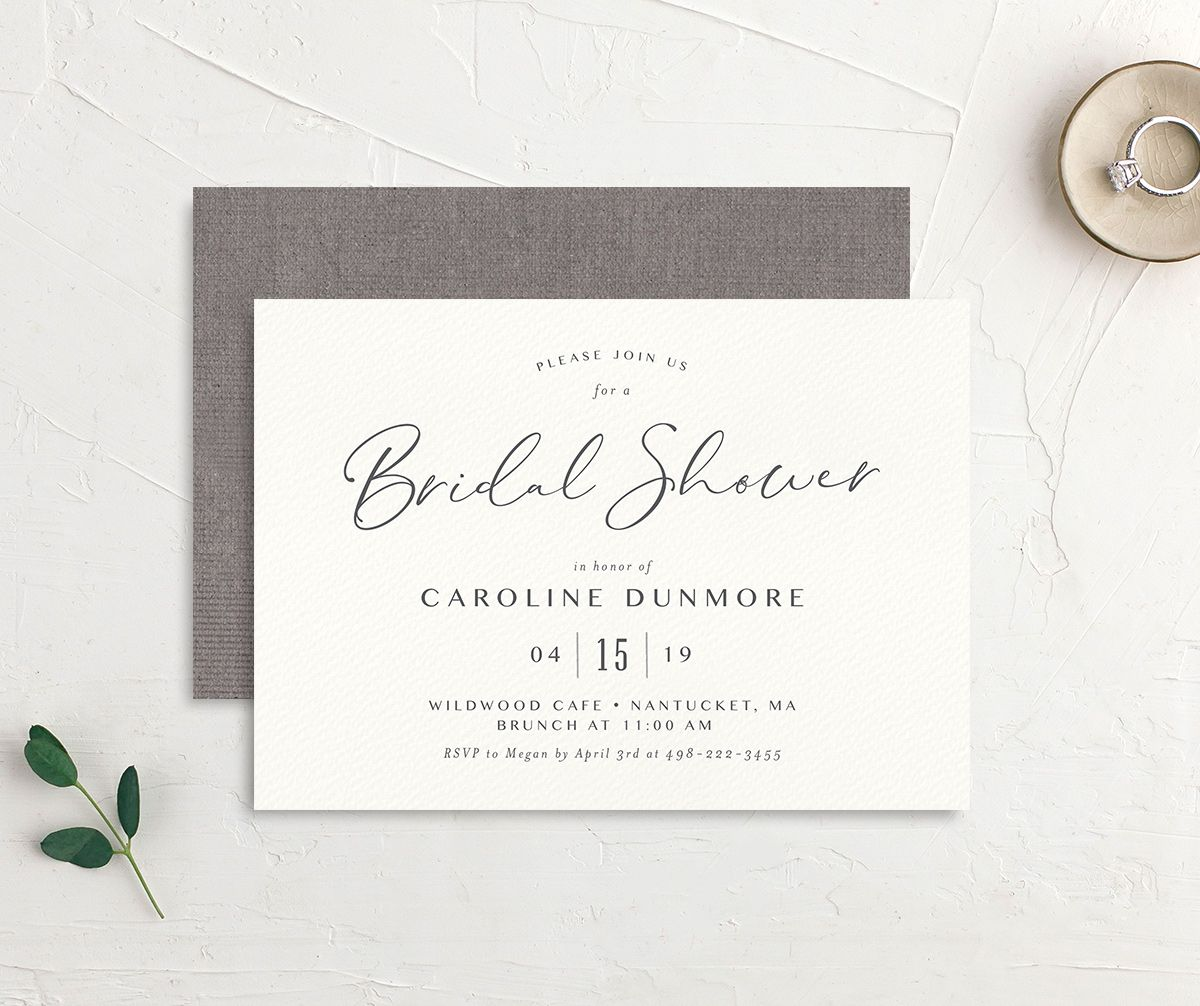 Coastal Love bridal shower invites front & back in grey