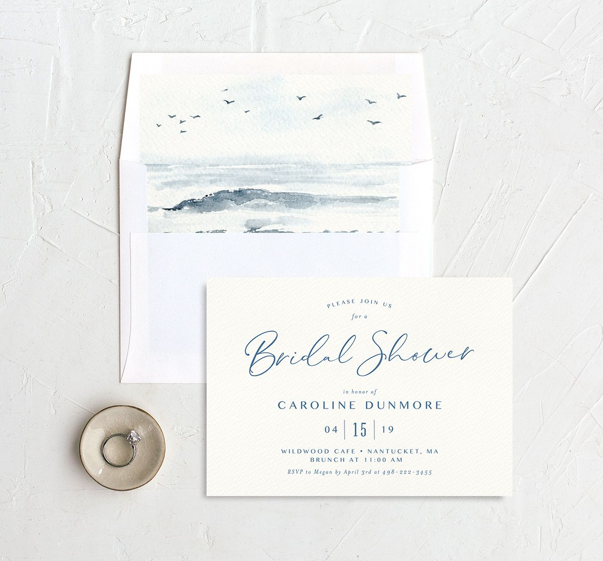 Coastal Love bridal shower invite with liner in blue