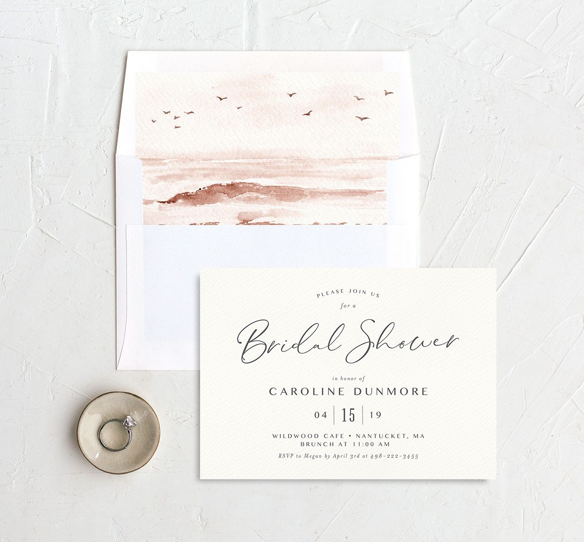 Coastal Love bridal shower invite with liner in grey