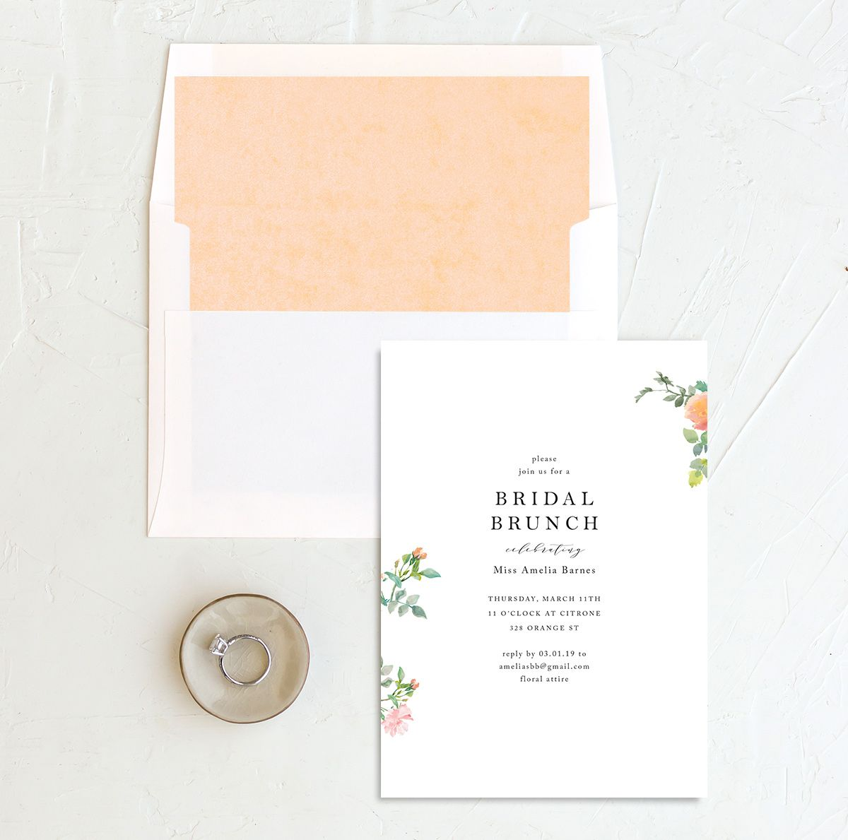 Minimal Floral Bridal Brunch invite with liner