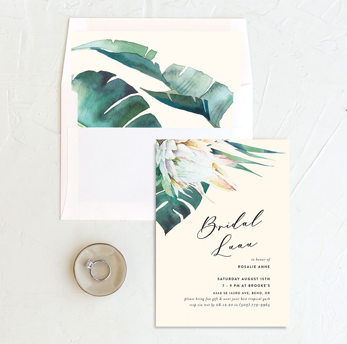 Palm and Protea Bridal Luau invites with liner