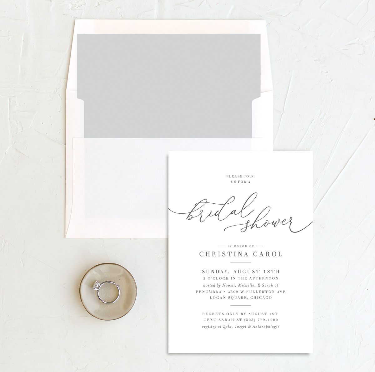 Romantic Calligraphy Bridal Shower invites with liner in grey