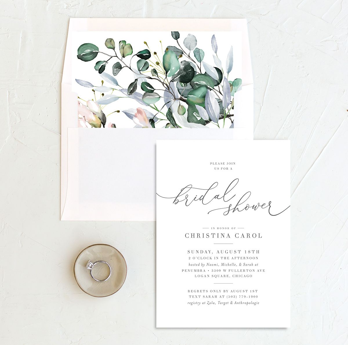 Romantic Calligraphy Bridal Shower invites with liner in multi