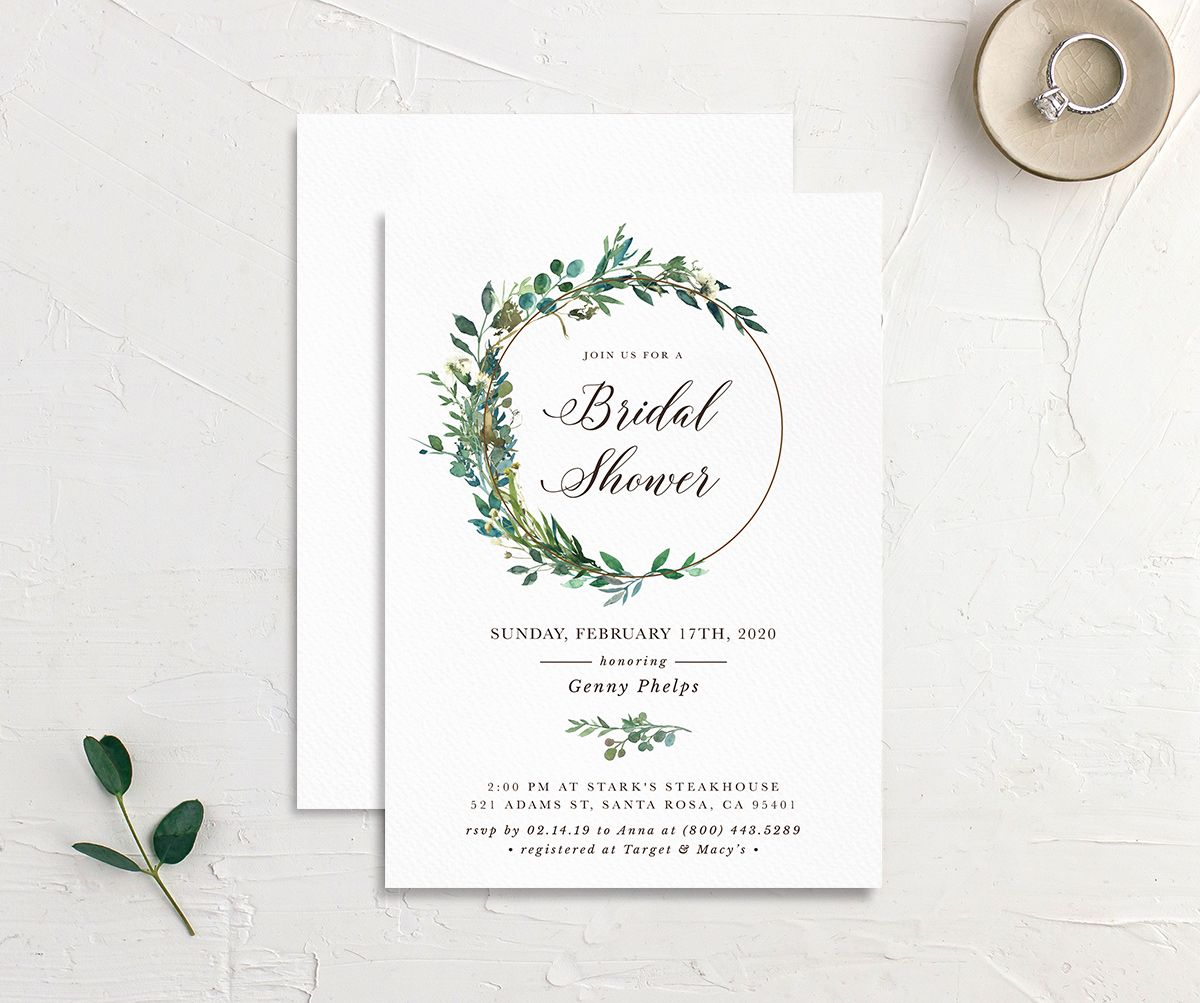 Leafy Hoops bridal shower invitation front & back