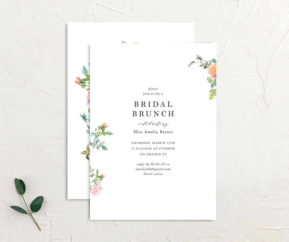 Minimal Floral Bridal Brunch invites