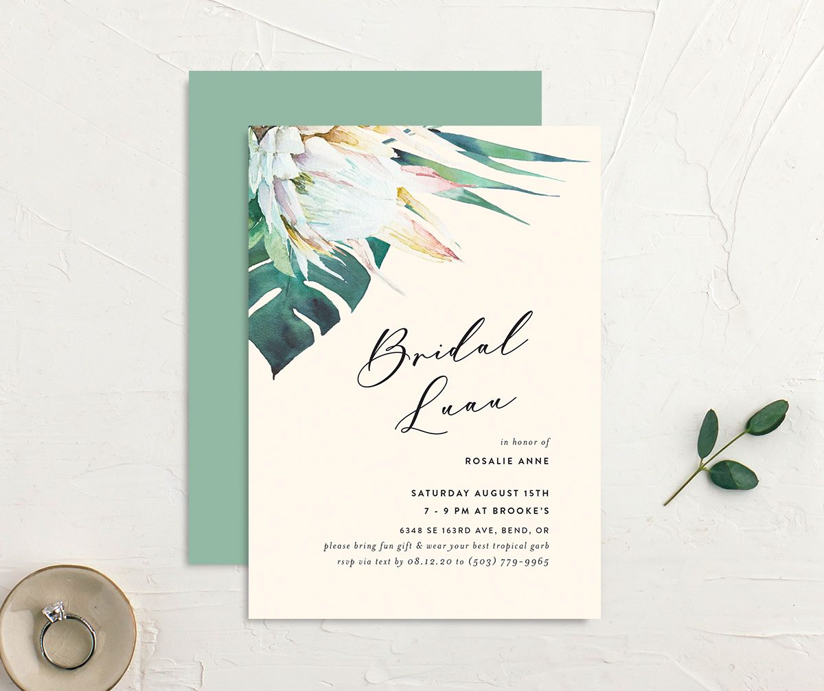 Palm and Protea Bridal Luau invitations front & back