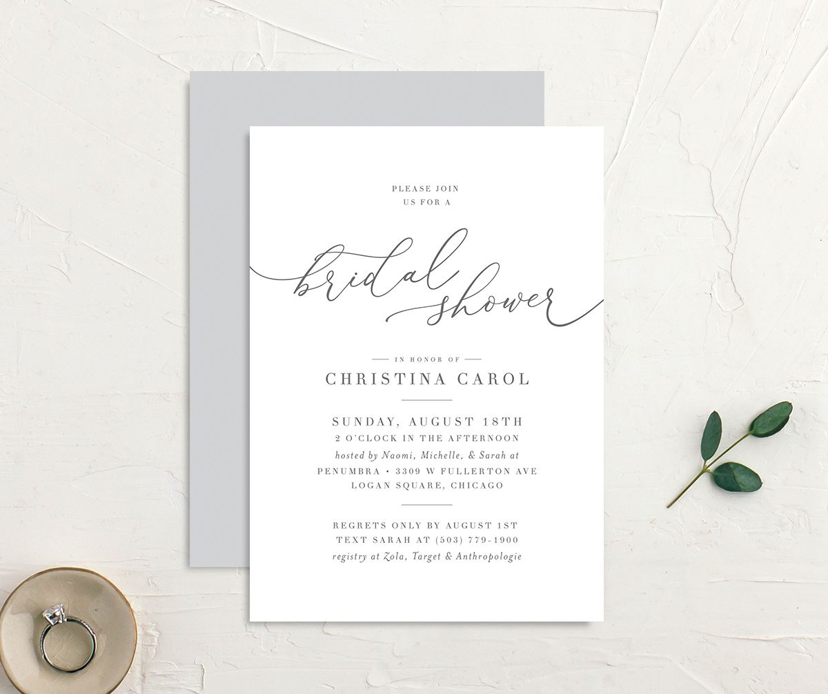 Romantic Calligraphy Bridal Shower invites front & back in grey