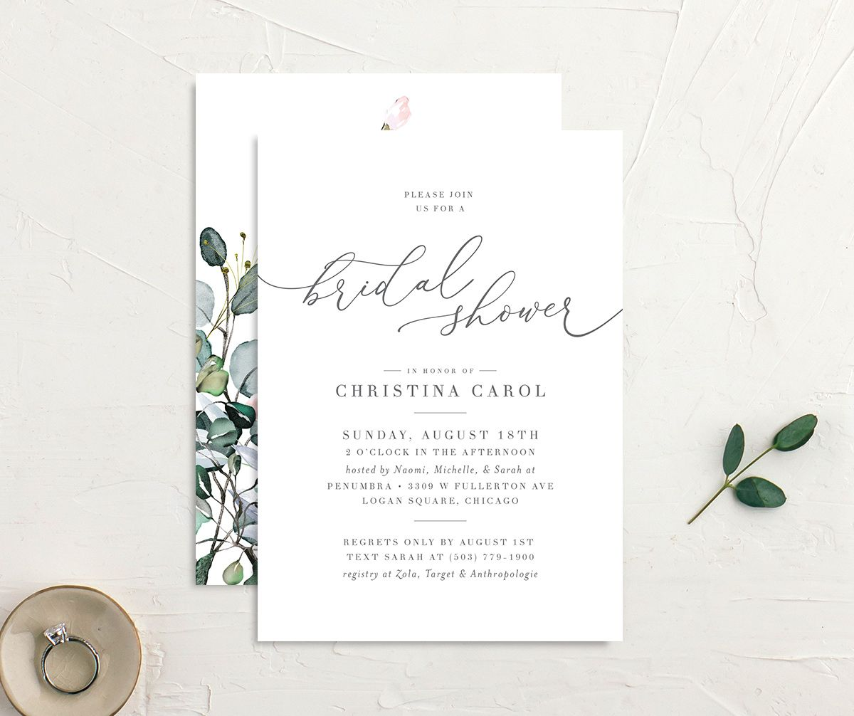 Romantic Calligraphy Bridal Shower invites front & back in multi