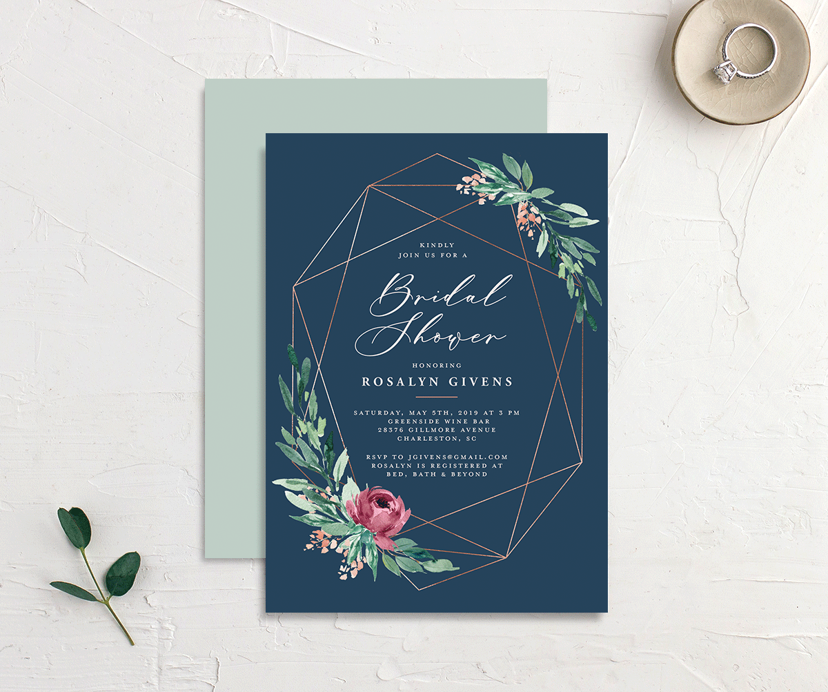 Gilded Botanical bridal shower invitation