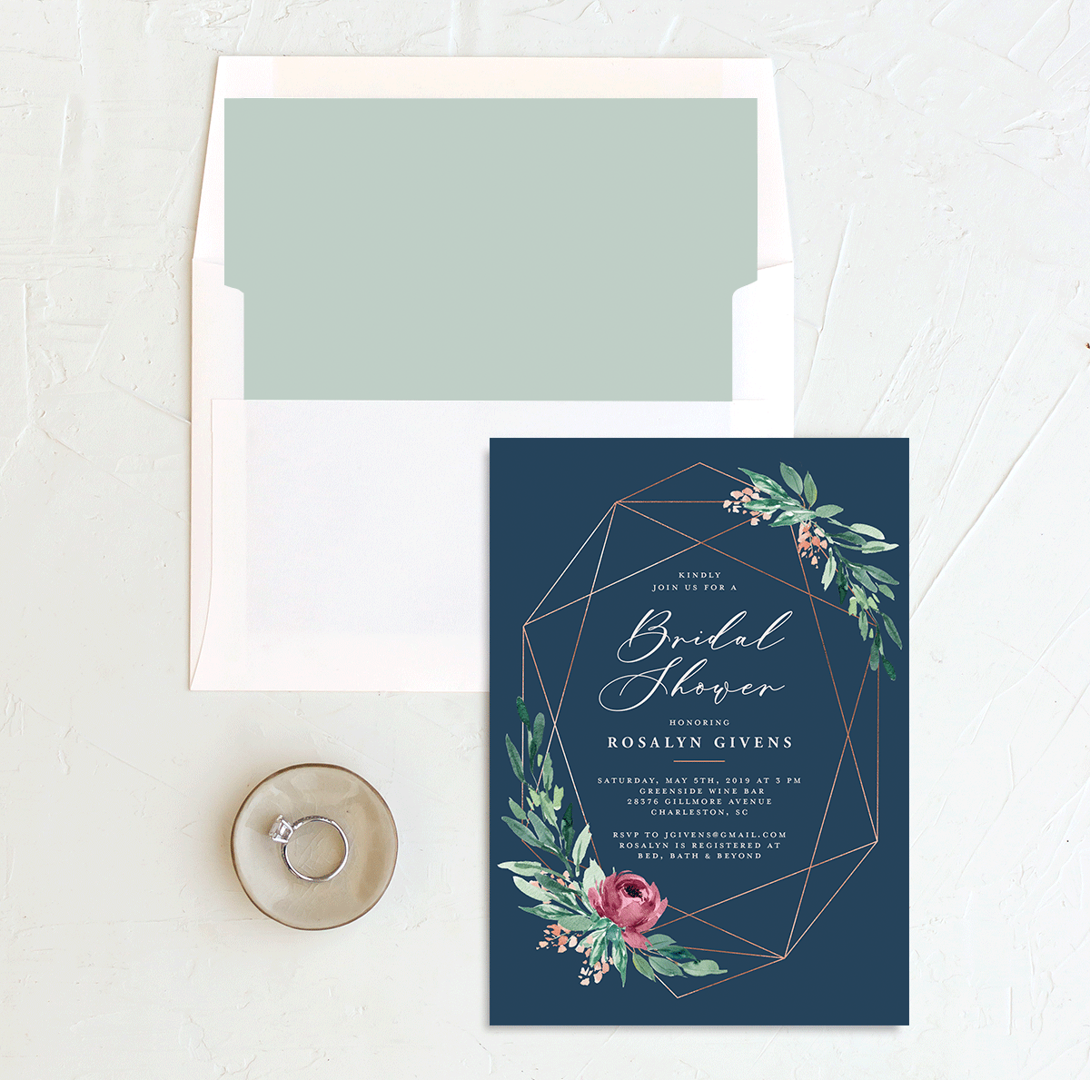 Gilded Botanical bridal shower invitation with liner