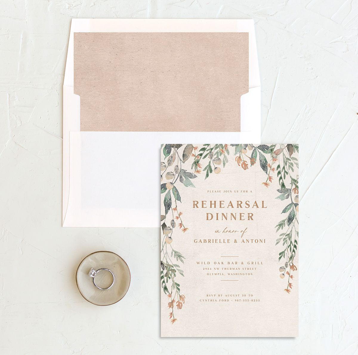 Rustic Vines rehearsal dinner invitation
