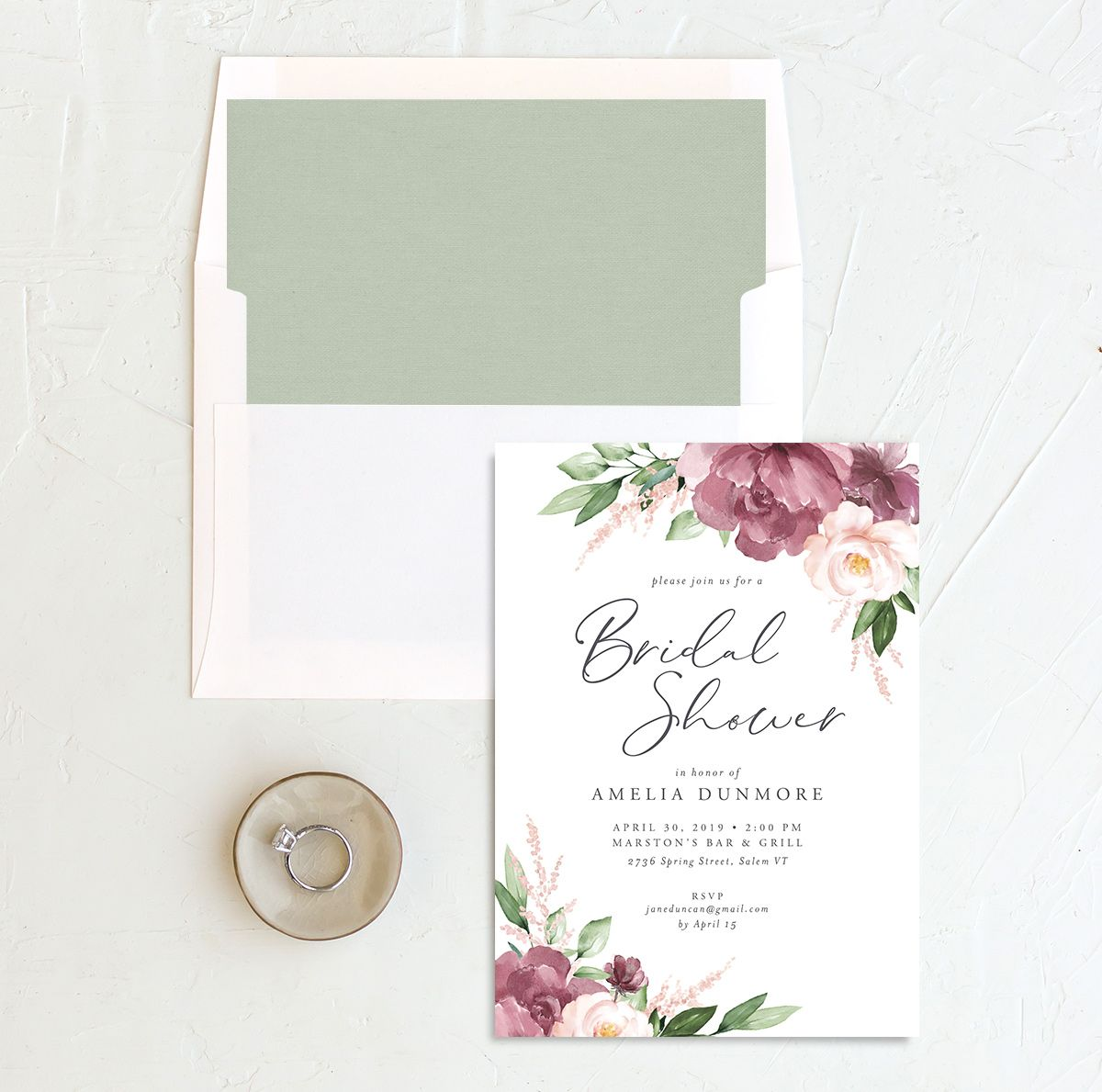 beloved floral bridal shower invites with envelope liners