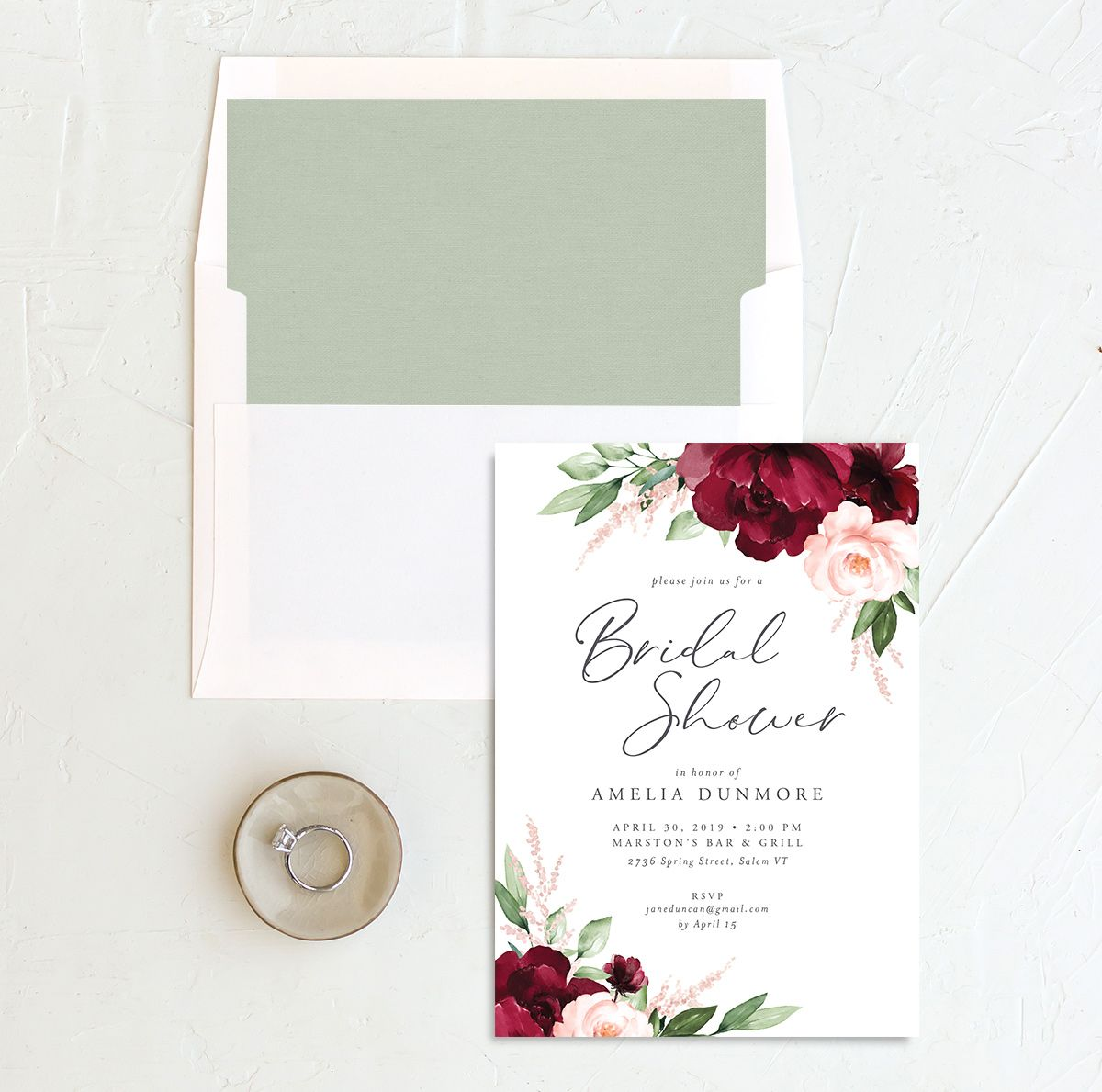 beloved floral bridal shower invite with envelope liner