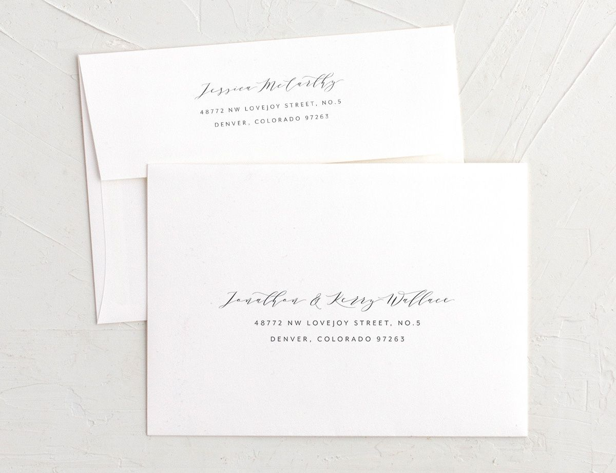 Modern Brushstroke wedding invitation envelopes