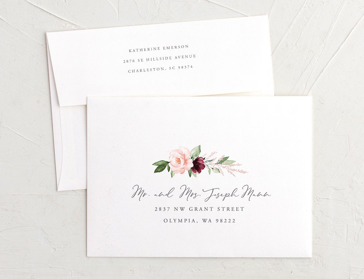 Beloved Floral Recipient Address Printing Envelopes