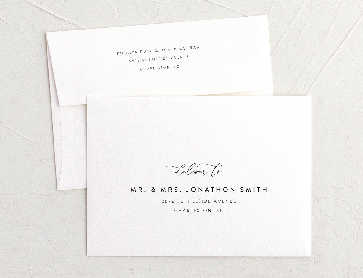 Blooming Botanical rehearsal dinner invitation envelopes