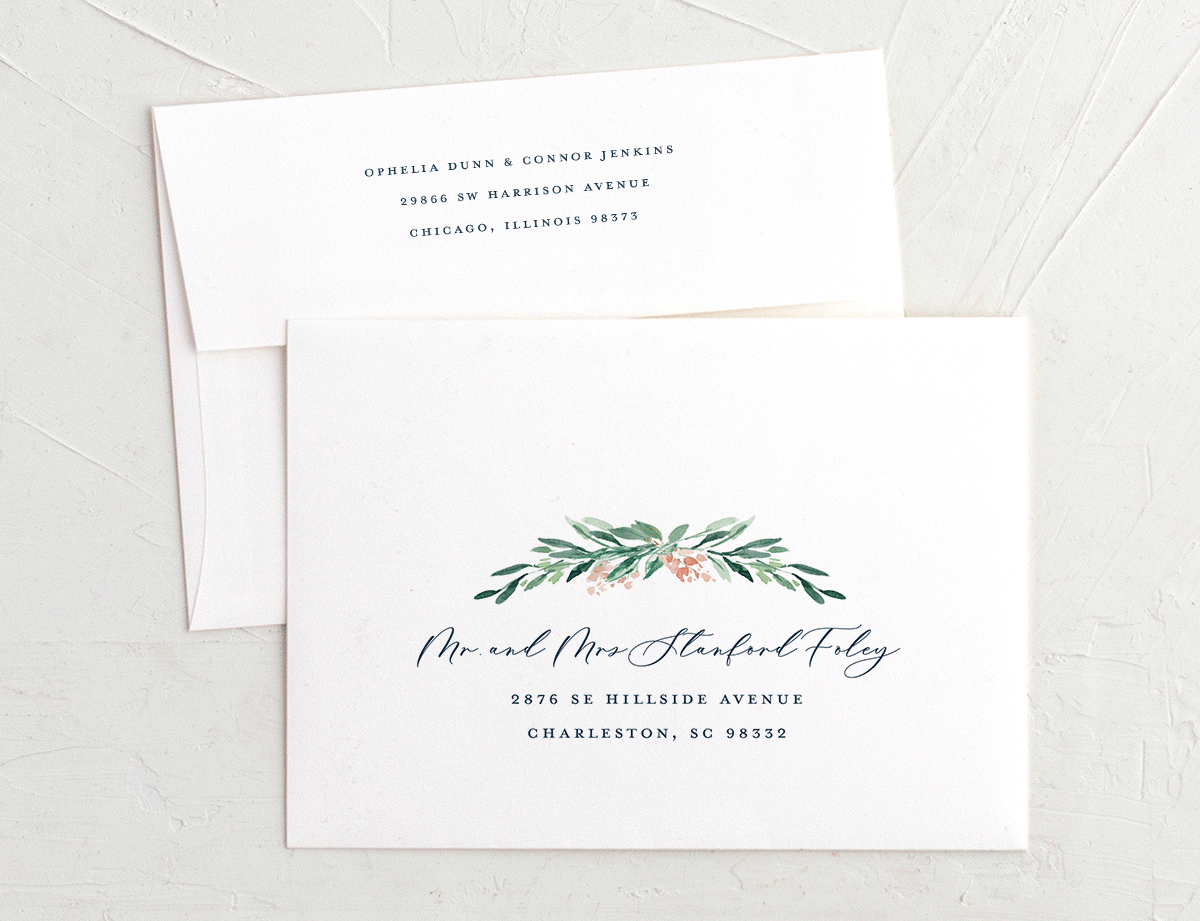 Gilded Botanical invitation envelope