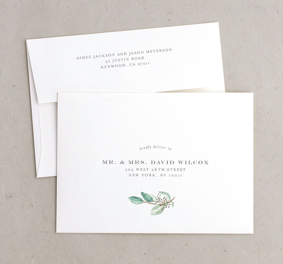Lush Greenery save the date envelopes