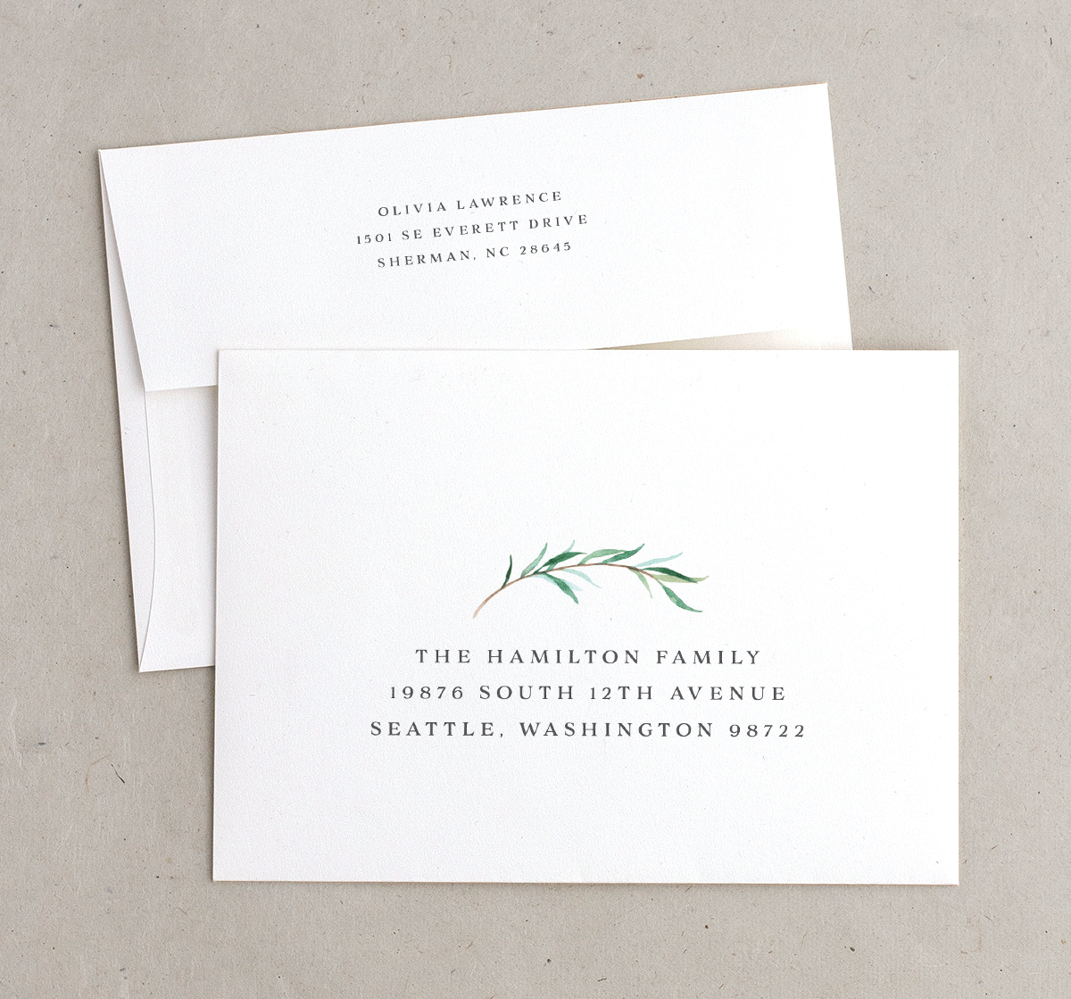 Natural Laurel wedding invitation envelopes