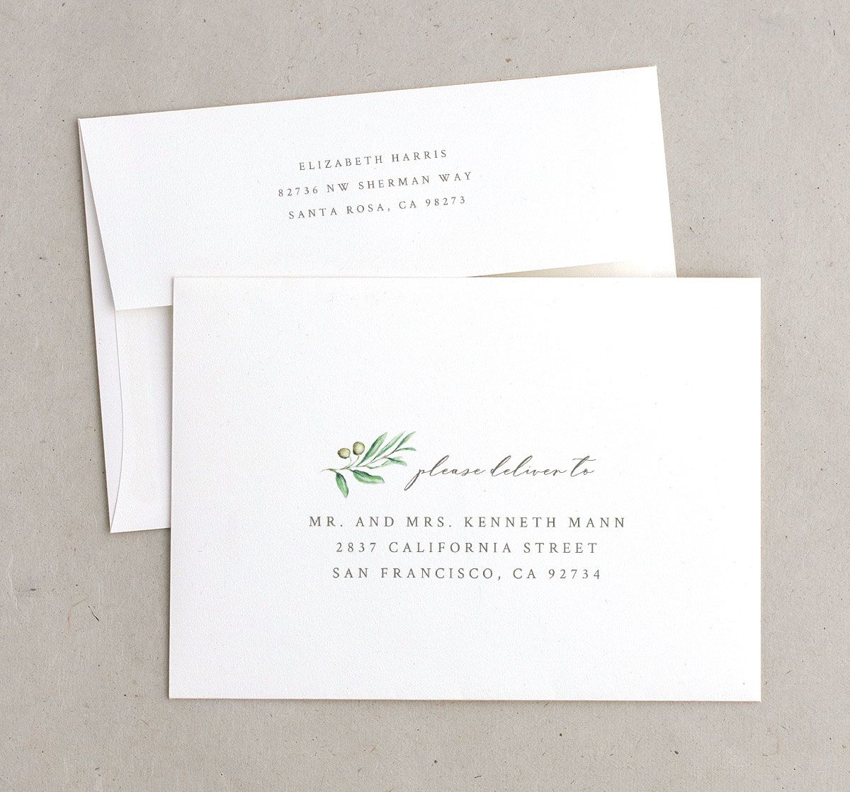Painted Winery wedding invitation envelopes