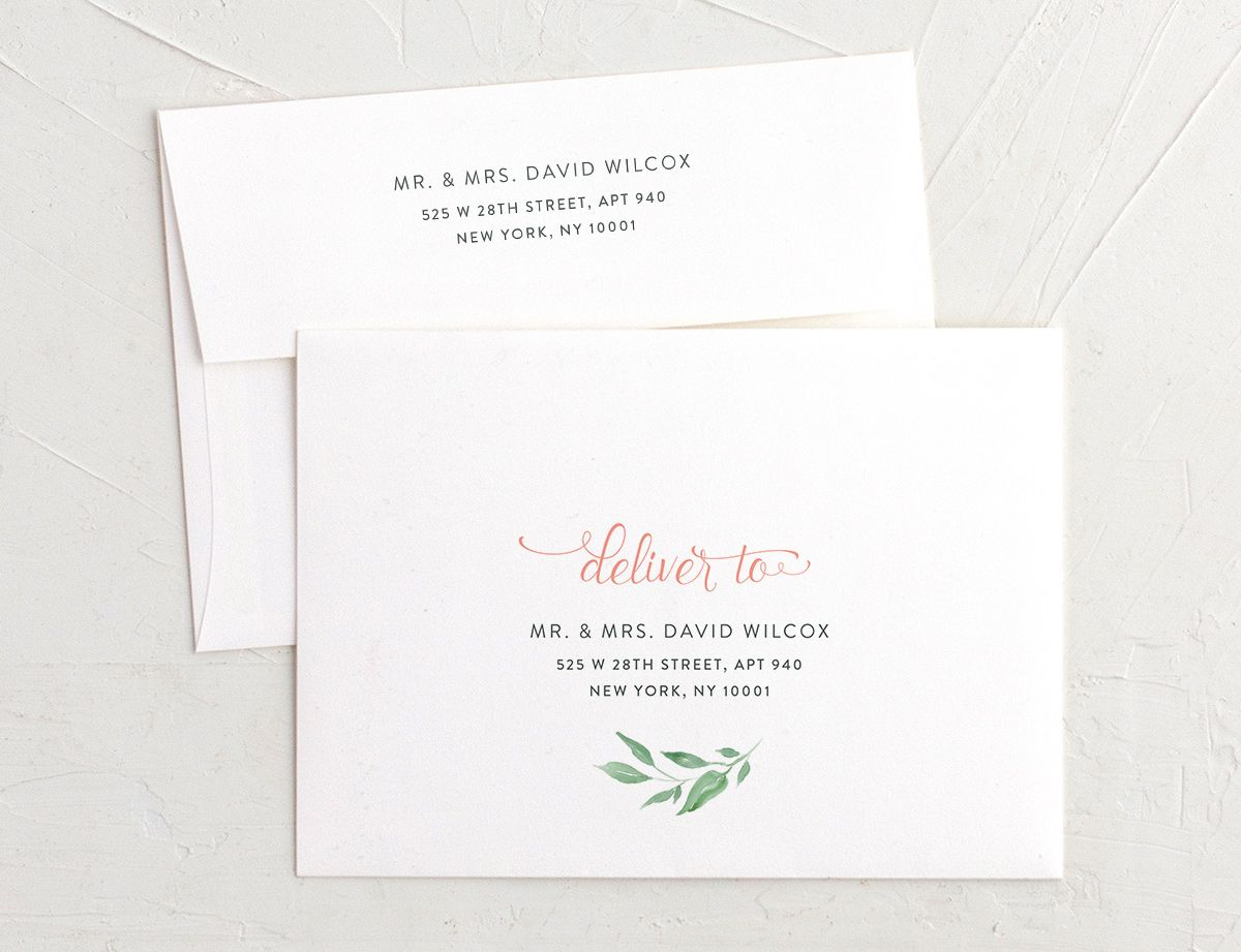 Romantic Floral Recipient Address Printing Envelopes