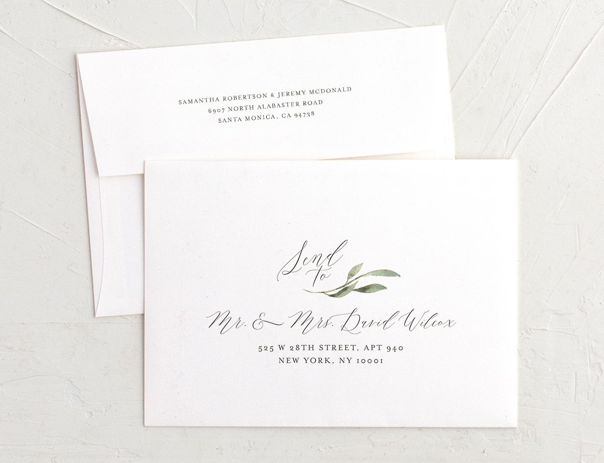 muted floral recipient address envelope printing in burgundy
