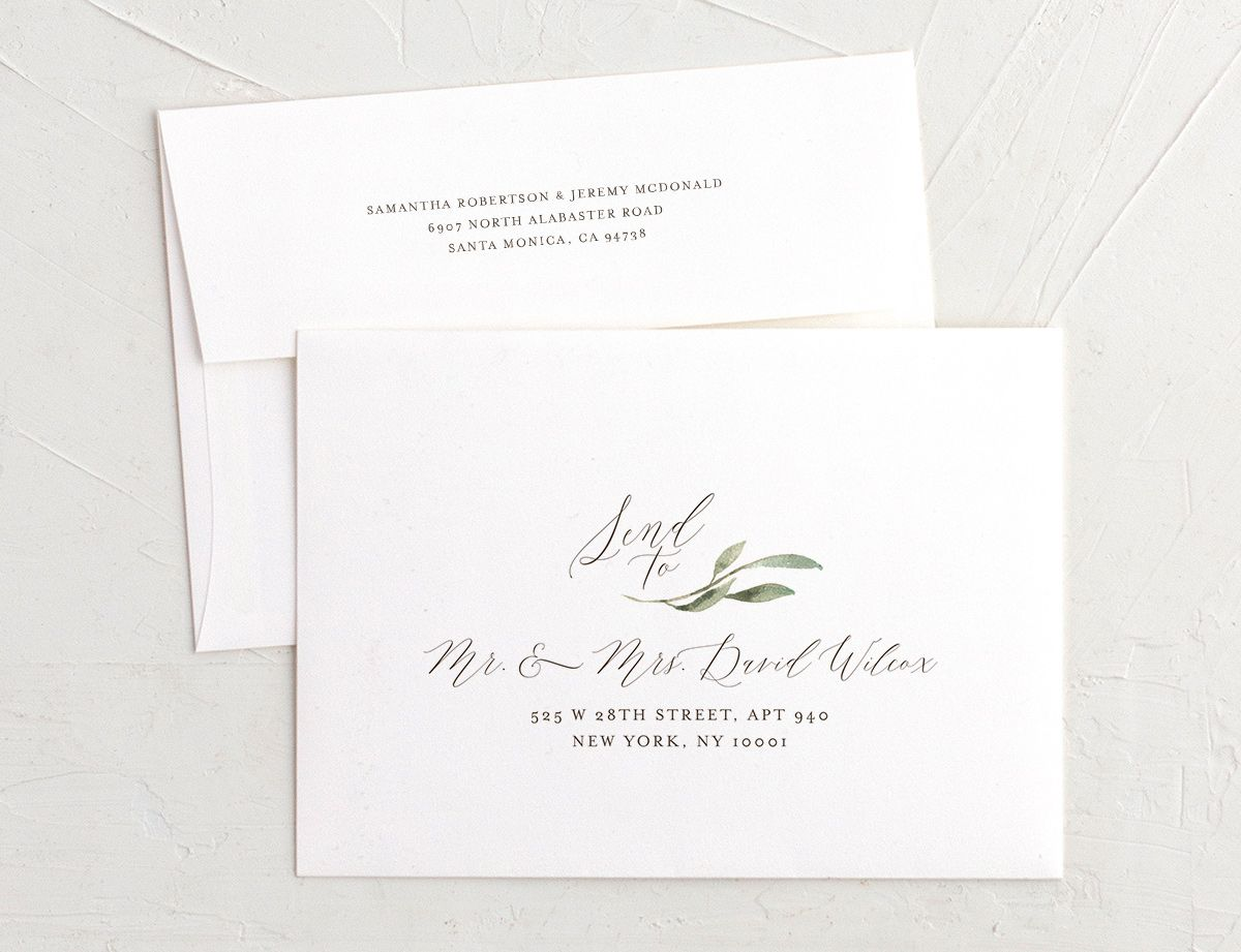 muted floral recipient address envelope printing in copper