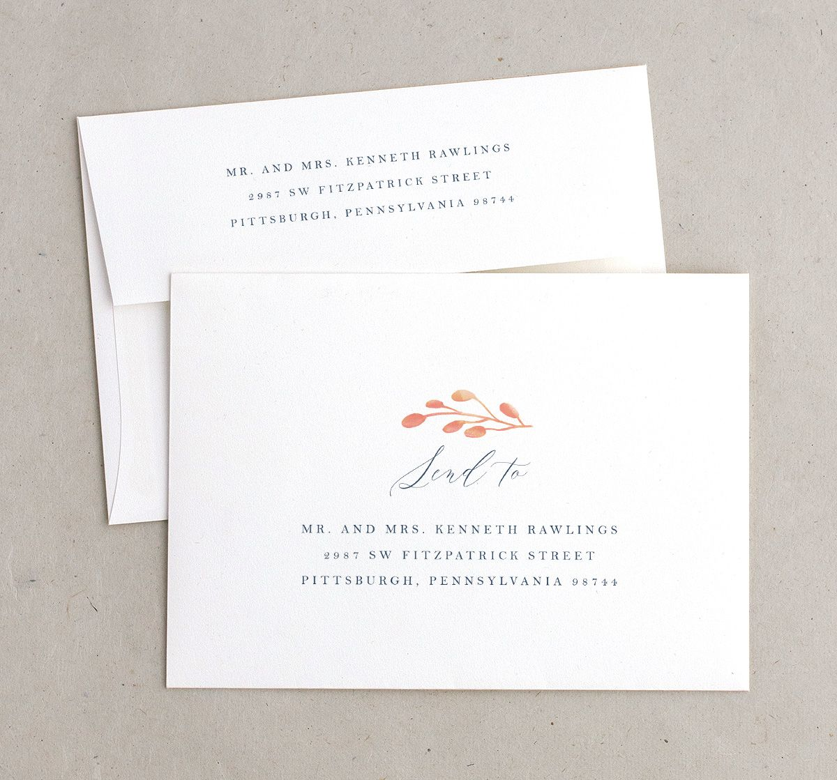 Rustic Leaves Recipient Address Printing Envelopes