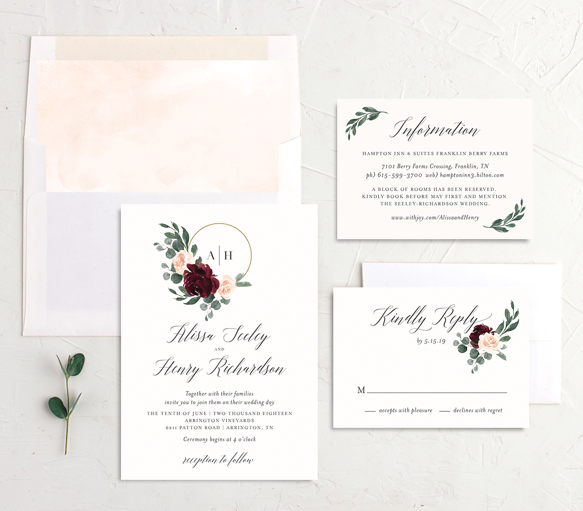 Floral Hoop Wedding Invitation Stationery Suite