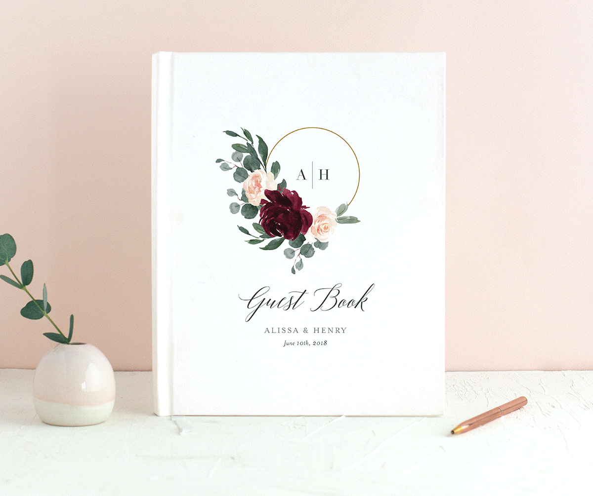 Floral Hoop Personalized Wedding Guest Book