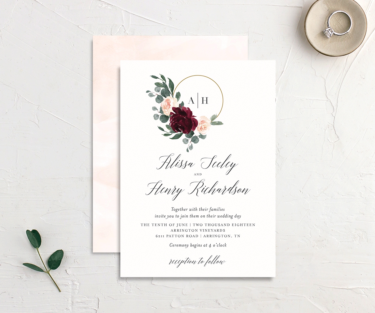 Floral Hoop Wedding Invitation